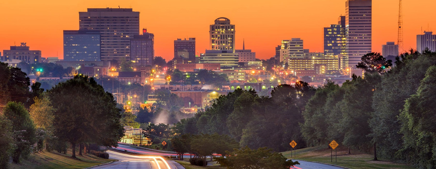 Sunset skyline view of Columbia, SC